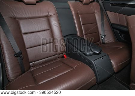 Novosibirsk, Russia - December 07, 2020:  Mercedes-benz E-class , Comfort Car Inside. Clean Car Inte