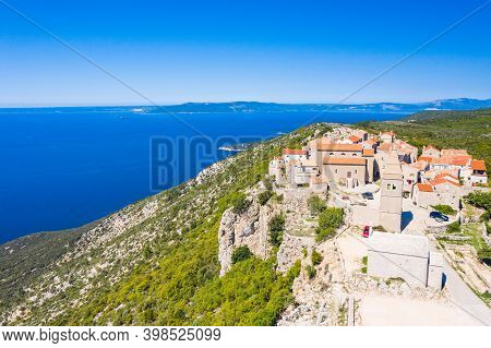 Aerial View Of Small Town Of Lubenice On The High Cliff Above The Adriatic Sea, Cres Island In Croat