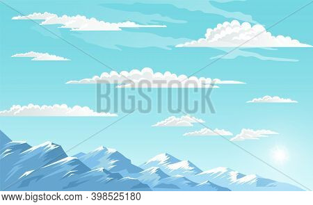 Mountains Landscape, Abstract Blue Panoramic View, Vector Illustration. Snow Capped Mountains Backgr