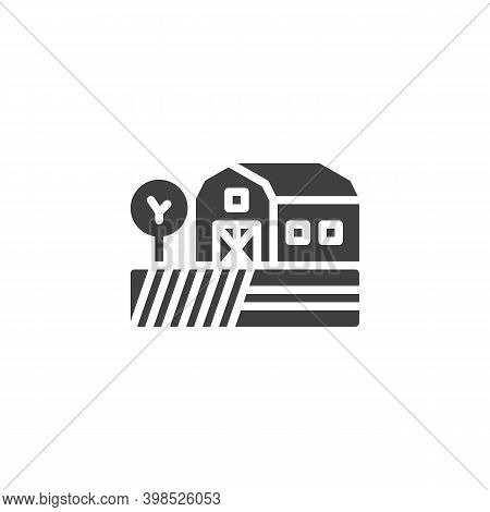 Farmland Barn Vector Icon. Filled Flat Sign For Mobile Concept And Web Design. Agriculture Field And