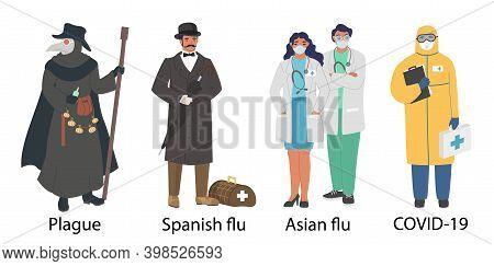 World Pandemic Doctor Cartoon Character Set, Flat Vector Illustration. Plague, Spanish And Asian Flu