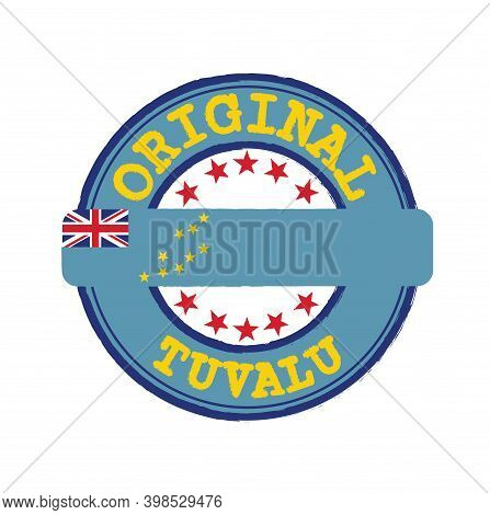 Vector Stamp Of Original Logo With Text Tuvalu And Tying In The Middle With Nation Flag. Grunge Rubb