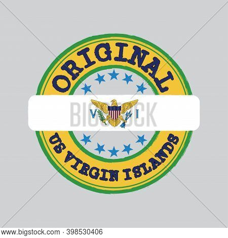 Vector Stamp Of Original Logo With Text Us Virgin Islands And Tying In The Middle With Nation Flag.