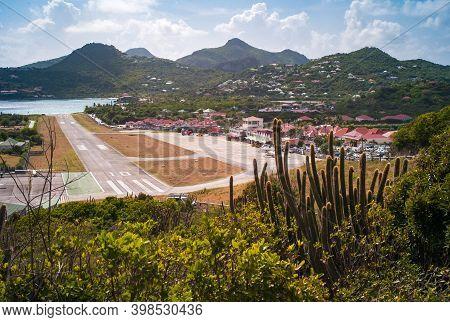 Gustavia, St. Barthelemy - July 25 2013: Saint Barths Airport Remy De Haenen, Formerly Aeroport Gust