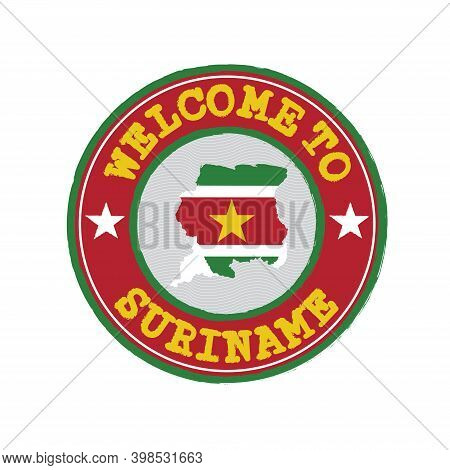Vector Stamp Of Welcome To Suriname With Map Outline Of The Nation In Center. Grunge Rubber Texture