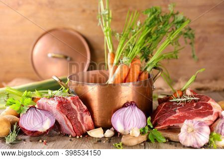 cooking pot au feu or beef stew- beef and vegetable