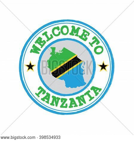 Vector Stamp Of Welcome To Tanzania With Map Outline Of The Nation In Center. Grunge Rubber Texture