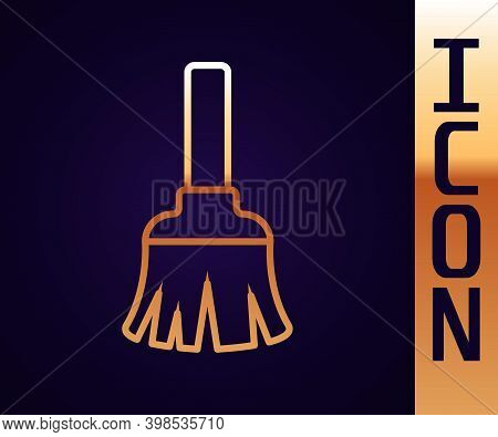 Gold Line Feather Broom For Cleaning Icon Isolated On Black Background. Feather Duster. Vector
