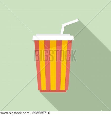 Cinema Soda Drink Cup Icon. Flat Illustration Of Cinema Soda Drink Cup Vector Icon For Web Design