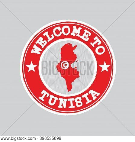 Vector Stamp Of Welcome To Tunisia With Map Outline Of The Nation In Center. Grunge Rubber Texture S