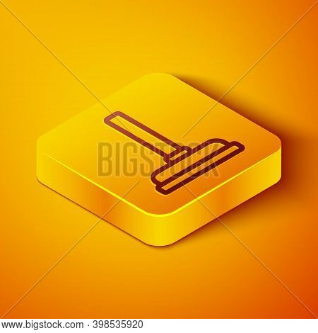 Isometric Line Rubber Plunger With Wooden Handle For Pipe Cleaning Icon Isolated On Orange Backgroun