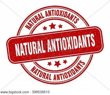 Natural Antioxidants Stamp. Natural Antioxidants Label. Round Grunge Sign
