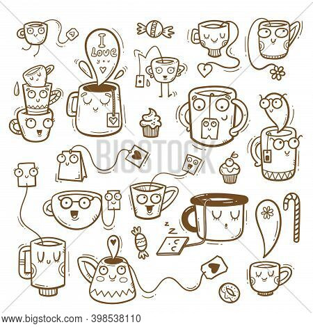 Set With Cute Cartoon Mugs And Tea. Funny Drink Print. Anthropomorphic Tableware Poster. Vector Dood