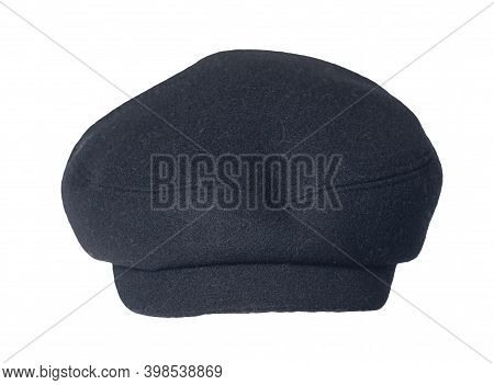 Fashion Dark Blue Hat With Visor Isolated On White Background.cap Female. Colored Hat .