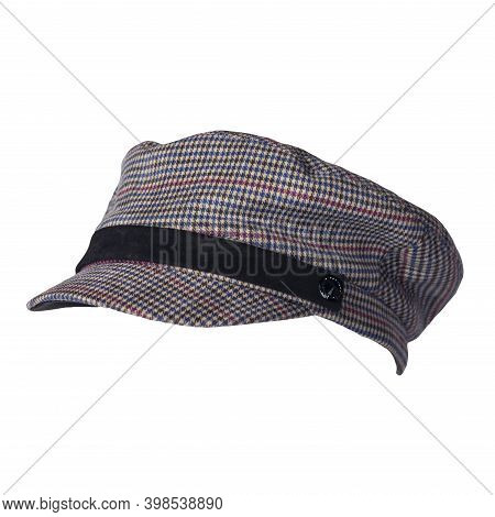 Fashion Red Blue Brown Black Hat With Visor Isolated On White Background.cap Female. Colored Hat .