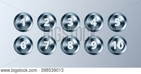 Metal Circle Buttons With Numbers Set. Vector Chrome Metallic Textured Gold Badges, Shiny Design Ele