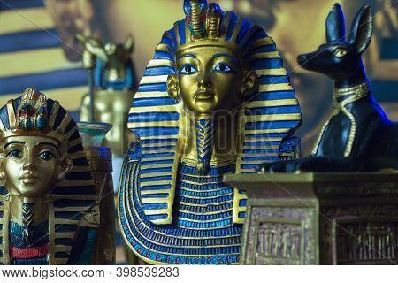 Still Life Of Statues Of King Pharaoh Tutankhamun Tutankhamen And Mythology Jackal Anup In Blue