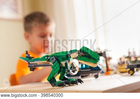 Saint-petersburg, Russia - November 26, 2020 Tyrannosaurus Assembled From Lego Bricks And Silhouette