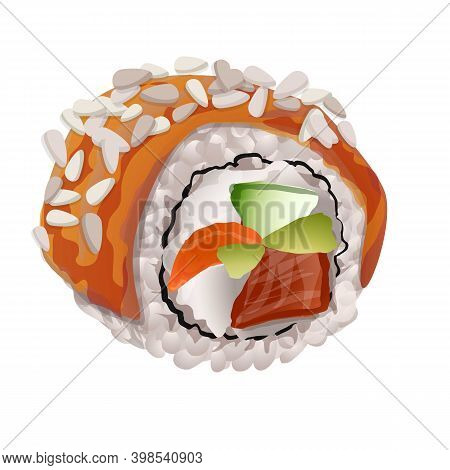 Mix Sushi Roll Icon. Cartoon Of Mix Sushi Roll Vector Icon For Web Design Isolated On White Backgrou
