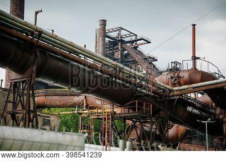 Old Rusty Mechanism Of Pipeline, Former Ironworks, Revamped Industrial Park, Closed Metallurgical Pl