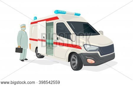 Ambulance Truck For Ill People, Doctor With Kit. Vector Machine With Flasher Light Or Siren, Paramed
