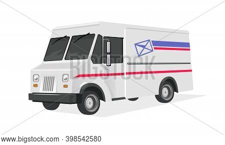 Driver Or Courier On Express Delivery Truck. Vector International Communication, Packaging, Transpor