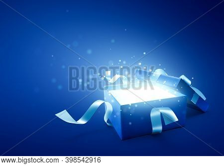 Blue Open Gift Box With Glittering / Magical Light