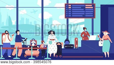 Airport Check In Queue. Girl Waiting Plane, Travelling People In Line. Departure Area, Persons Decen