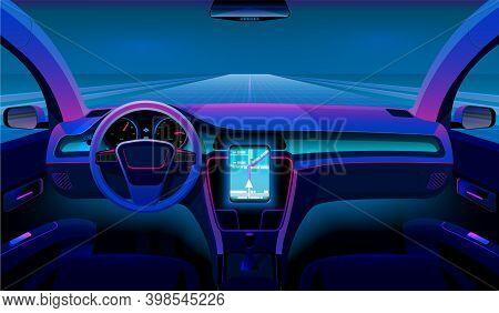 Inside Futuristic Car. Neon Auto, Modern Interior And Road Grid. Driverless Vehicle On Night Traffic