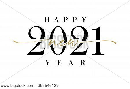 2021 New Year Elegant Calligraphy. Stylish Black Digits Vector Illustration With Holiday Happy New Y