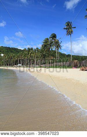 Palawan, Philippines - December 2, 2017: People Enjoy Most Beautiful Marimegmeg Beach Of El Nido In