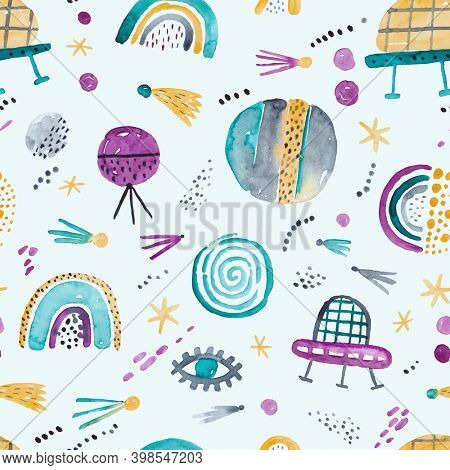 Space adventure. Childish space hand drawn pattern with planets, stars and space elements. Trendy watercolor texture.