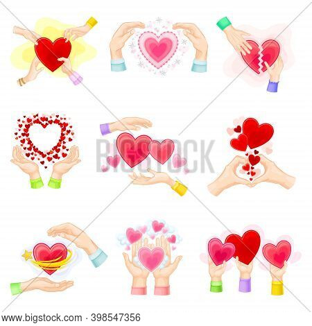 Human Hands And Fluttering Red Heart As Love And Affection Sign Vector Set