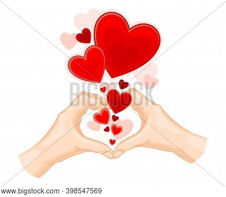Hands Showing Heart Gesture And Red Fluttering Sweetheart Vector Illustration