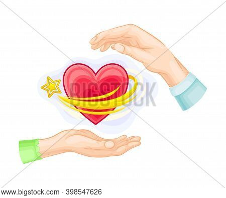 Male And Female Hands And Red Fluttering Heart Vector Illustration