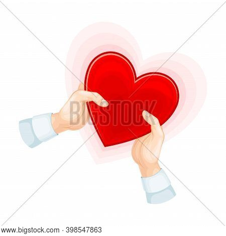 Bright Red Heart Shape In Hands As Love And Fondness Symbol Vector Illustration