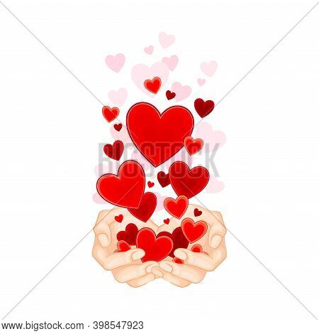 Open Palm With Fluttering Red Hearts As Love And Fondness Symbol Vector Illustration