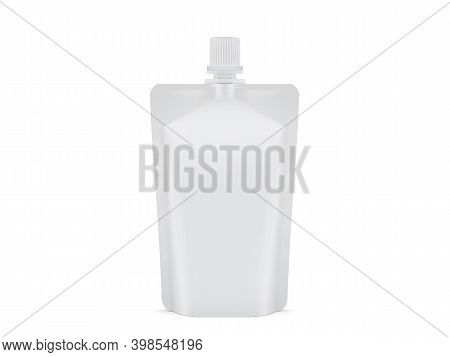 White Blank Plastic Packaging Doy Pack Isolated On White Background Mock Up Vector