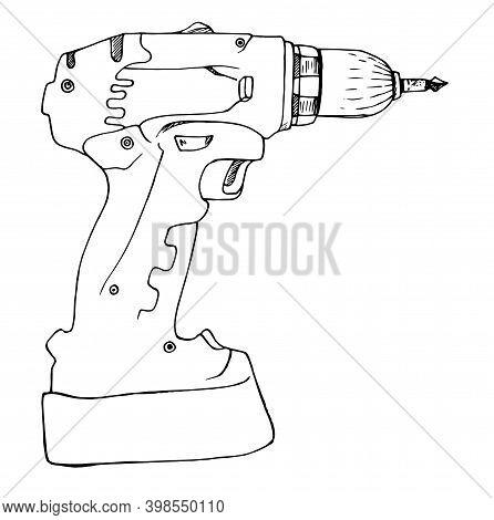 Hand Drill Tool Icon Retro Flat Design Template, Contour Wireless Icon, Black Isolated Vector Illust