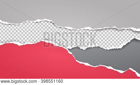 Pieces Of Torn, Ripped Red, White And Squared Paper Strips With Soft Shadow Are On Grey Background F