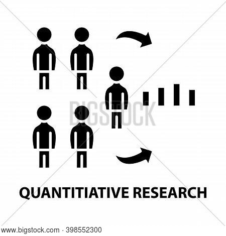 Quantitiative Research Icon, Black Vector Sign With Editable Strokes, Concept Illustration