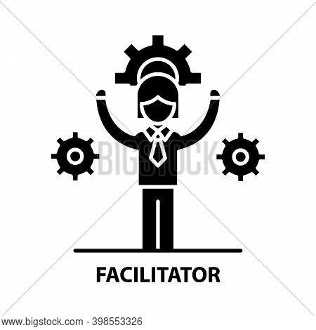 Facilitator Icon, Black Vector Sign With Editable Strokes, Concept Illustration
