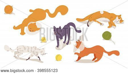 Injured And Sufferer Cats With Prosthesis And Protective Cone Collars Isolated On White. Cartoon Kit