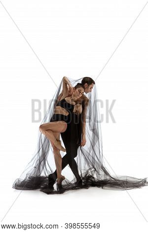 Sadness. Graceful Classic Ballet Dancers Dancing Isolated On White Studio Background. Couple In Mini