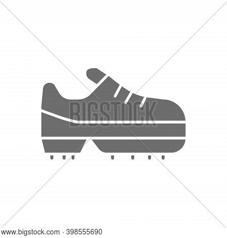 Spiked Football Boot, Game Equipment Grey Icon.