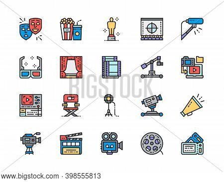Set Of Cinema Color Line Icons. Popcorn, Masks, Clapper Board, Tickets And More.