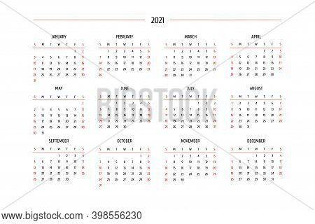 2021 Calendar In Classic Strict Style. Monthly Calendar Minimalism Restrained Design For Business Pr