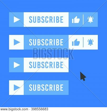 Subscribe Button For Video Channel. Blue And Light Blue Color. Vector Illustration. Web Elements