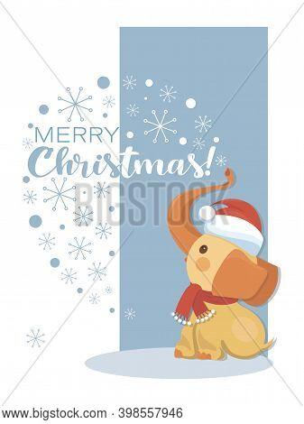 Cute Baby Elephant Santa. Vector Cartoon Character, Wish Merry Christmas. Design Of Childrens Card