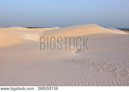 Big White Sand Dunes At Aomak Beach At Sunset, Socotra Island, Yemen. The Protected Area Of Aomak Be